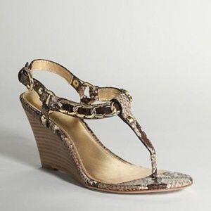 COACH Honora Snake Print Wedge Thong Sandals NEW 9